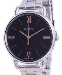 카시오 검은 색 다이얼 스테인리스 스틸 쿼츠 LTP-E414D-1A LTPE414D-1A 여성용 시계