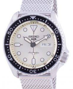 Seiko 5 Sports Campagne Dial Stainless Steel Mesh Automatic SRPE75 SRPE75K1 SRPE75K 100M Men's Watch