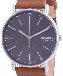 Skagen Signatur 그레이 다이얼 가죽 스트랩 쿼츠 SKW6578 남성용 시계