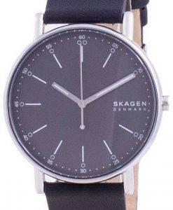 Skagen Signatur 그레이 다이얼 가죽 스트랩 쿼츠 SKW6654 남성용 시계