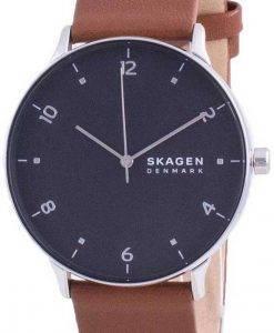Skagen Riis 블랙 다이얼 가죽 스트랩 쿼츠 SKW6663 남성용 시계