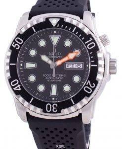 비율 무료 다이버 헬륨 안전 1000M 사파이어 오토매틱 1068HA90-34VA-BLK 남자 시계