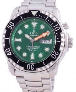 비율 무료 다이버 헬륨 안전 1000M 사파이어 오토매틱 1068HA96-34VA-GRN 남성용 시계