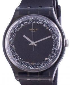 Swatch Darksparkles 블랙 다이얼 실리콘 스트랩 쿼츠 SUOB156 남성용 시계