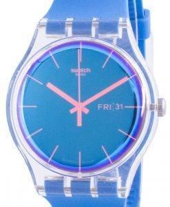 스와치 Polablue 블루 다이얼 실리콘 스트랩 쿼츠 SUOK711 남성용 시계