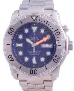 Verhältnis Free Diver Helium-Safe Automatik 1068MD96-34VA-BLU 1000M Herrenuhr